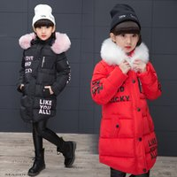 New 2019 Fashion Children Winter Jacket Girl Winter Coat Kids Warm Thick Fur Collar Hooded long down Coats For Teenage 775 S2