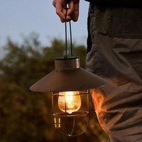 Solar Lamps Outdoor Lights Iron Light Bulb Disc Hanging Lamp Waterproof Garden Terrace Decoration Retro Lantern