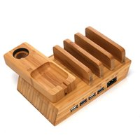 Cell Phone Mounts & Holders Multi-port Bamboo Charging Stand 4-port Mobile Tablet USB Station For Earphone Wooden Charger Base