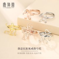 EA7s 925 pure silver diy fe male and female diy wax amber turquoise universal band rings holder with shape ring holder