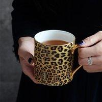 Tassen 350ml Personalisierte Leopard Bone Hohe Qualität Kaffeetasse Chinesische Porzellan Tee Reise Schreibtisch Büro Luxus Geschenk für den Chef