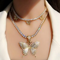 Chains Luxury Iced Out Bling Hip Hop Women Jewelry Cz Tennis Chain Butterfly Charm Choker Necklaces Gold Plated Zircon Punk Necklace