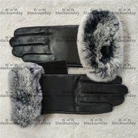 Black Velvet Gloves Hipster Top Quality Women Leather Luxury Gloves Winter Outdoor Cycling Camping Skiing Sports Warm Designer Gloves