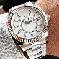 Najlepsza sprzedaż męska wysokiej klasy atmosfera zegarek biały wybieranie obrotowe obrotowe ramki szafir szkło ze stali nierdzewnej srebrna bransoletka automatyczny ruch Idealne dopasowanie mężczyzn zegarki