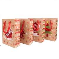 Envoltório Saco de Natal Papelão Branco Sacos de Papel Hand-Hand de Retorno Presentes de Retorno Embalagem Vermelho Red Exquisite Elk Dots Dots Wedding DWF9965