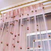 Цветочная роза романтическая пасторальная линия занавес гостиной делитель разделителя строки шторы украшения магазина J0510