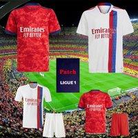 Olympique Lyonnais Lyon Soccer Jersey 21 22 Maillot de Pé 2021 2022 Maillots de Futebol Camisa Traore Memphis Ol Men + Kid Kit uniformes
