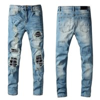 Designer jeans Mens jeans Ankle Zipper Kanye West Slim-leg Destroyed Distressed Hip Hop Ripped jeans Rock Skinny Slim Ripped Hole Pants