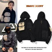 20SS TRAVIS SCOTT TS Joint Name Cactus Jack Cactus Stickerei Micro Label Multi Pocket Pullover