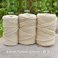 3 4 5 6mm Macrame Rope Twisted String Cotton Cord For Handmade Natural Beige DIY Home Decor Wedding Accessories Gift Yarn