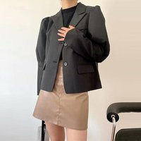 Women's Suits & Blazers Women Black British-style Single Breasted Notched High Street OL Student All-match Streetwear Classic Designs Suit