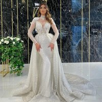 Glitter Saudi Style Mermaid Formal Evening Dresses Long Sleeves Overskirt Train Plus Size Sparkly White Sequins Prom Party Gowns For Arabic Women
