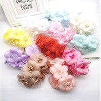 Decorative Flowers & Wreaths 6pcs 5cm Silk Scrapbooking Mini Rose Artificial Corsage Flower Bouquet For Wedding Decoration DIY Wreath Craft