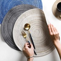 Mats & Pads 6pcs set Round Ramie Insulation Pad Solid Placemats Linen Non Slip Table Kitchen Accessories Decoration Home