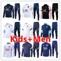 PSG Jordan France Paris Mens + детские футбольные трексеи тренировочные комплекты 2021 2022 Olympique de Marseille Lyon дизайнер футбольный спортивный спортивный комплект куртки