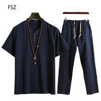 Ethnic Clothing Muslim Plus Size Cotton Linen Suit Men's Short-sleeved T-shirt Pants Two-piece Packed Islam Clothers Man