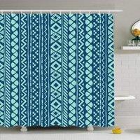 샤워 커튼 커튼 후크와 함께 설정 60x72 블루 스트라이프 아즈텍 부족 검은 패턴 간단한 기하학적 사각형 추상 라인 스타일