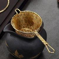 Fileiros de chá de bronze com caixa de presente estilo japonês Teism Filtro de folha solta Malha Handmade vintage Kung Fu-Tea Infusers Kitchen Teaware Teahouse Holiday presentes