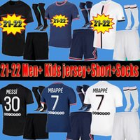 Men Kids PSG Messi Paris saint germain kits 21 22 di calcio jersey 2021 2022 Mbappe Hakimi Neymar camicia JR Uomi bambini set uniformi Maglia piede hommes Paris