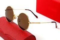 2021 Marco completo Medio Hombres Mujeres Gafas de sol Oro RIM RED REDONDAS Master Diseño Master Estilos Cabeza de metal Alta Calidad Adecuado Todo tipo de caja de coincidencia de cara