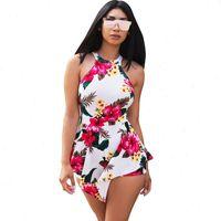 Womens Jumpsuit Sexy Off Shoulder Floral Print Boho Beach Romper Women Halter Sleeveless Short Ladies Summer Playsuits Macacao Feminino