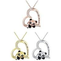 Colares Pingente Coração Forma Panda Colar Mulheres Meninas Presente De Moda Jóias