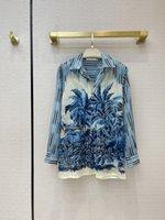 밀라노 활주로 셔츠 2021 긴 소매 스트라이프 프린트 옷깃 넥 디자이너 블라우스 브랜드 동일한 스타일 여성 0330-5