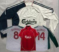 06/07 레트로 축구 유니폼 Gerrard Alonso Kuyt Fowler Riise Kewell Crouch Luis Garcia Bellamy Hypia 2006 2007 축구 셔츠