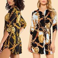 Casual Dresses Elegant Boho Summer Shirt Dress Women Long Sleeve Chain Print Ladies Party Mini Vestidos De Mujer