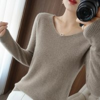 Women's Sweaters 100% Pure Wool Cashmere Sweater V-neck Pullover Autumn  winter Casual Knit Tops Solid Color Regular Female Jacket