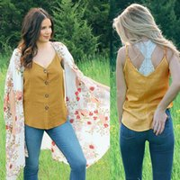 Summer Camisole With European And American Casual V-neck Button Jacket Women's Clothing T-Shirt