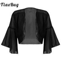 Envolturas chaquetas tiaobug verano mujeres flae mangas con capas abiertas frente bolero encogimiento de hombros chal damas gasa cardigan chaqueta de boda brida