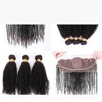MONGOLIAN 9A Kinky curly Seidengrundspitze-Frontal mit Haarbündeln Seidengrundohr zu Ohr volle Spitze-Frontals mit den Haaren webt