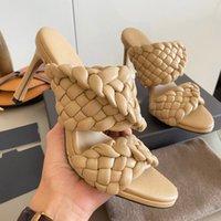 Kadın Sandalet Dokuma Yüksek Topuklu Eğri Sandalet Uzatılmış Badem Toe Kates Moda Kadın Ayakkabı Yüksek Topuklu Slaytlar