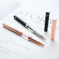 Nail Art Kits Black Double Head Crystal Handle 9mm&11mm Drawing Brush Liner Painting Pen Gel Polish Manicure Tools