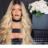 100% menschliches haar volle spitze blonde perücke ombre color 1b 613 Zwei Ton Körperwelle Vordere Spitze Perücken dunkle Wurzel mit Babyhaare für weiße Frau