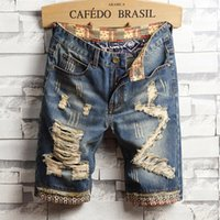 Mens Jeans Summer Denim Shorts Mens Blue Five Point Trousers European And American Baggy Ripped Jeans
