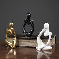 Mini-Charakter Statue Denker-Skulptur-abstrakte Harz-Skulptur-Ornamente für Home Desktop-Möbel
