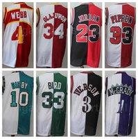 İki Renk Basketbol Formaları Allen Iverson Pippen Hakeem olajuwon Tracy McGrady Vince Carter Larry Bird Kırmızı Siyah