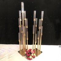 Çiçekler vazolar 8 kafaları mumluklar arka planında yol kurşun sahne masa centerpiece metal standı direk şamdan şamdan HWB10921