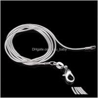 Perlen Halsketten Anhänger Schmuck Drop Lieferung 2021 Charme 1mm Hohe Qualität Blitzüberzogener Verkäufer Sier Schlangenkette 925 Unisex Sterling Neckla