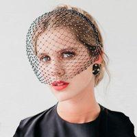 Bridal Weits Crystal Crystal Birdcage Blackcage черный оголовье аксессуары для волос свадьба для белого лица сетка, очаровательный очаровательный очаровательный