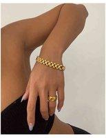 Braccialetto Braccialetto in titanio con 18 K Gold Pavy Gold Glack Dichiarazione Dichiarazione Donne Gioielli in acciaio inox Gioielli Chic Gown Giappone Corea del Sud moda