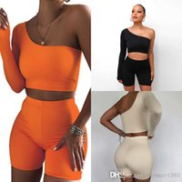 Women Tracksuits Solid Color Personalized Single Sleeve Sexy Off Shoulder Sports Long Sleeve Shorts Slim Two Piece Sets