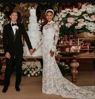 Exquisite Full Lace Mermaid Wedding Gowns with Detachable Train High Neck Long Sleeve Bridal Dresses vestidos de novia robes Custom Made