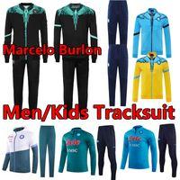 21/22 Napoli Maradona Burlon 축구 유니폼 Nàpule 2021 후드 재킷 세트 윈드 브레이커 스웨터 Tracksuits 나폴리 Mertens 남자 + 키즈 Survetement 조깅