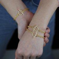 Charm Bracelets Pave Sparking Bling White Cubic Zirconia Clasp Oval Cuban Link Chain Women Bracelet
