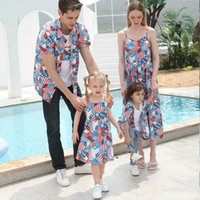 Family Matching Outfits Mother Daughter Dresses Clothing Boys Girls Clothes Children Summer Cotton Short Sleeve Long Beach Shirts T-shirts Daddy Son Wear B6278