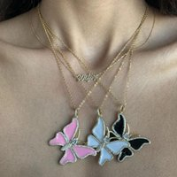 Refined Stylish Butterfly Necklace & Pendant Enamel Wild Animal Paved Zircon Long Clavicle Chain Personality Chains