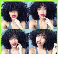 Glueless Short Kinky Curly Full Lace Human Hair Wigs For Black Women Unprocessed Brazilian Afro Kinky Curly Lace Front Wigs sale